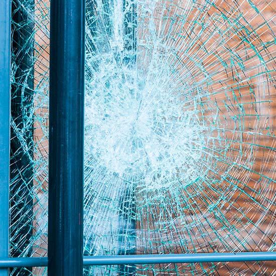 Cracked glass of a window or door